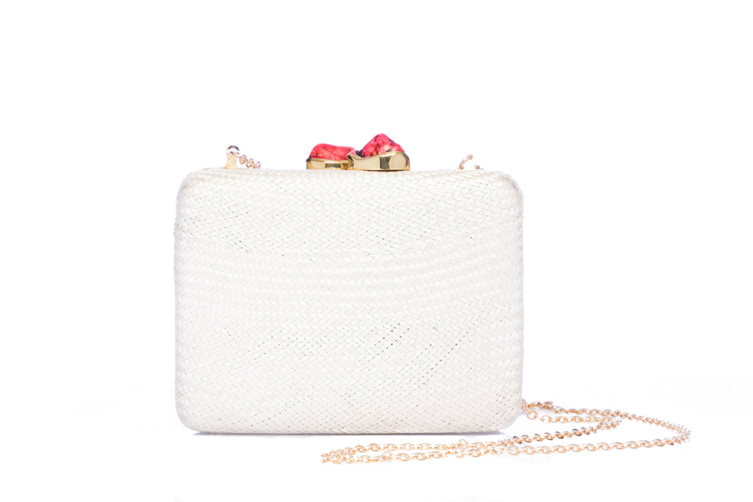 Iris white woven clutch with red stone