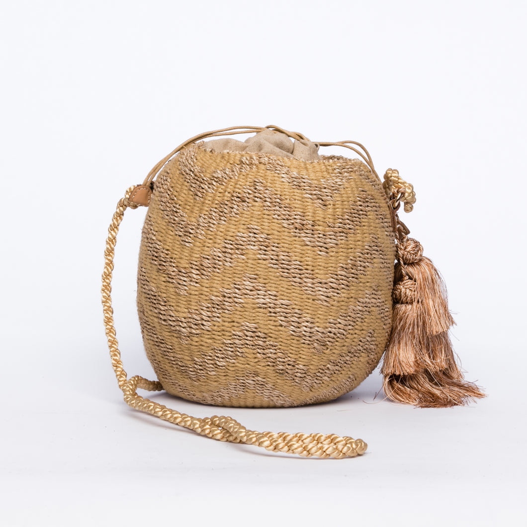 Larone Kate Circle Shoulder Bag with Zigzag Embro
