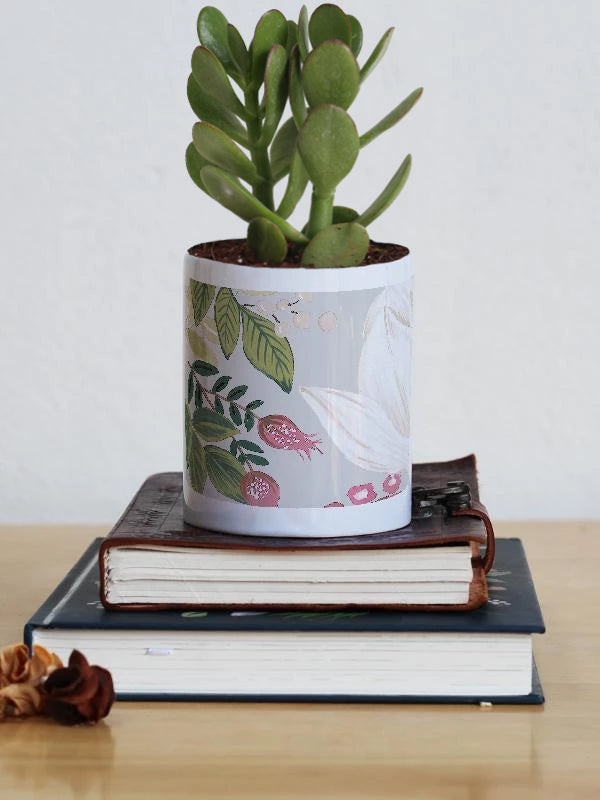 Live Plant with Planter | Grey Floral - TheInkBucketstore