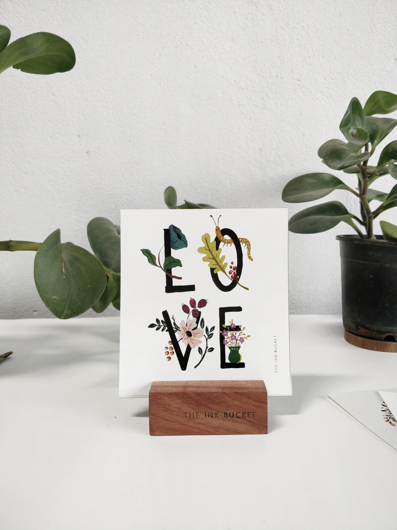 Mini Prints on a Wooden Stand - 12 Designs - TheInkBucketstore