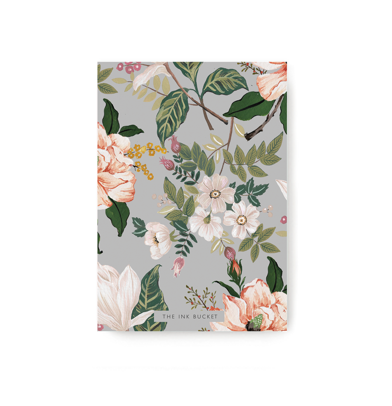 Grey Floral Notebook - TheInkBucketstore