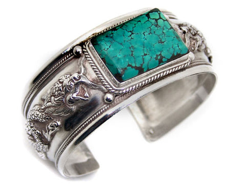Dragon Turquoise Sterling Silver Cuff Bracelet