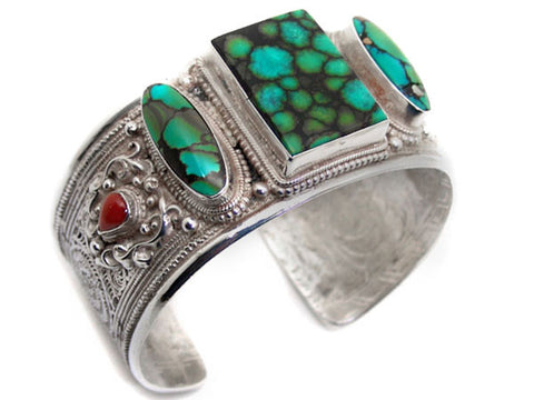 Filigree Turquoise Sterling Silver Cuff Bracelet