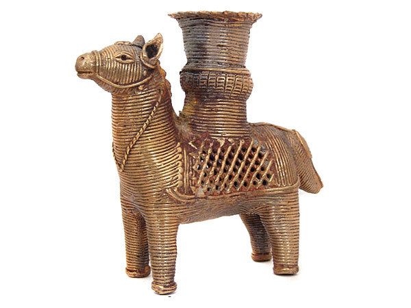Horse Brass Candle Holder