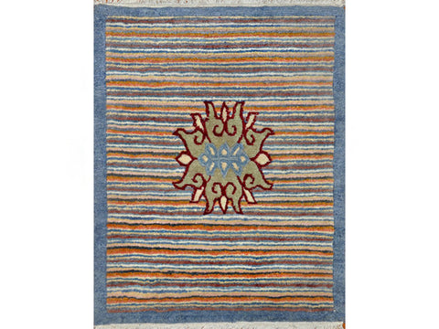Green Striped Tibetan Lotus Meditation Rug