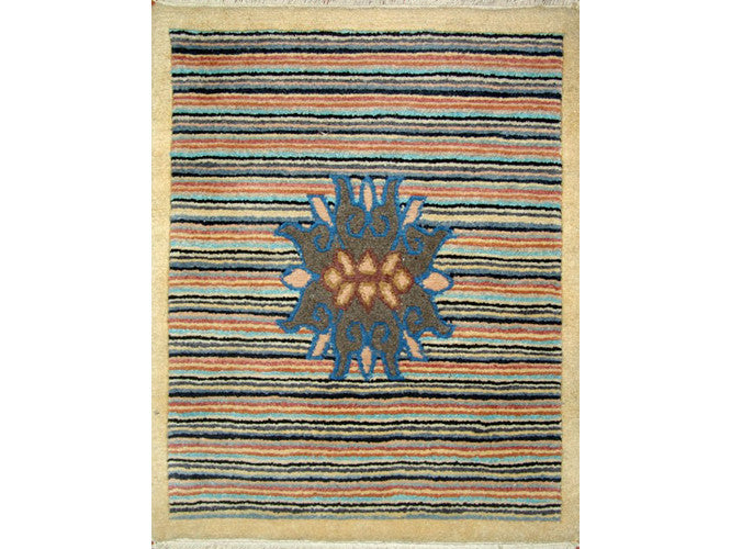 Grey Lotus Striped Tibetan Meditation Rug