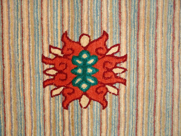 Red Striped Tibetan Lotus Meditation Rug