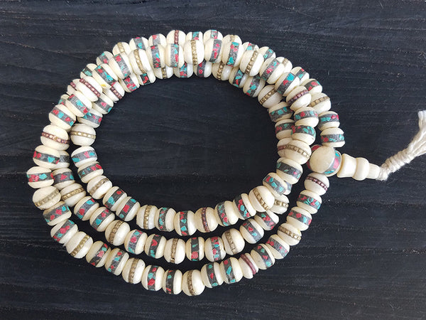 White Bone Prayer Beads Mala