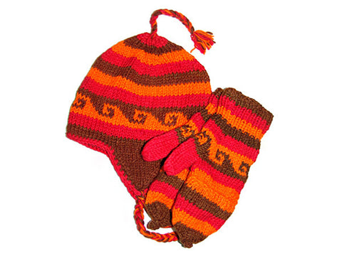 Red Tibetan Hand Knitted Woolen Hat and Mitten Set