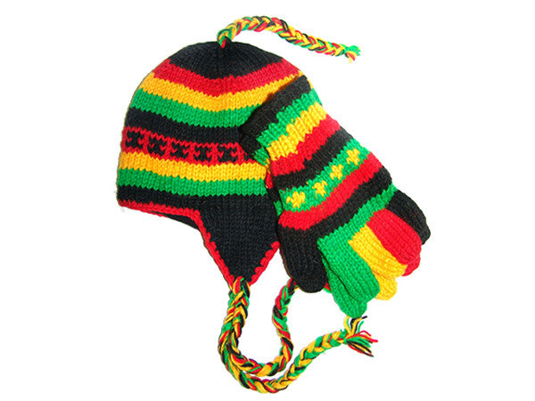 Rasta Tibetan Hand Knitted Woolen Hat and Glove Set