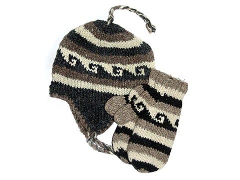Wave Tibetan Hand Knitted Woolen Hat and Mitten Set