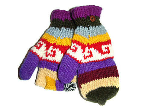 Awesome Hand-Knitted Tibetan Woolen Glove Mitten