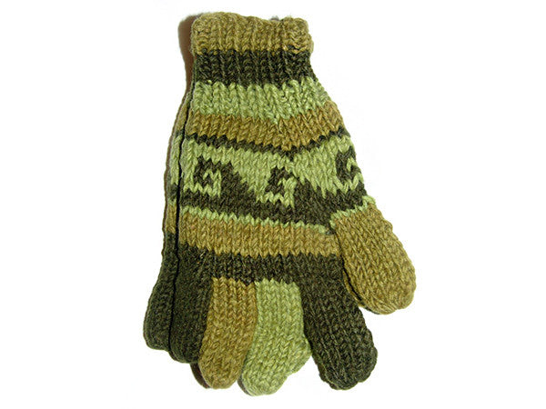 Green Wave Tibetan Hand Knitted Woolen Glove