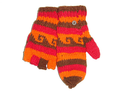 Red Wave Hand-Knitted Tibetan Glove Mitten