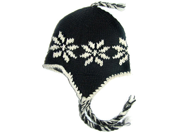 Black Tibetan Hand Knitted Woolen Winter Hat