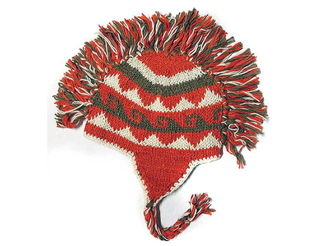 Hot Wave Mohawk Hand Knitted Tibetan Woolen Winter Hat
