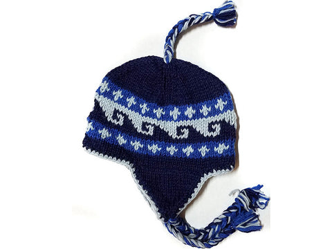 Blue Wave Hand Knitted Tibetan Woolen Winter Hat