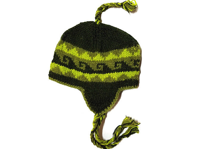 Green Wave Hand Knitted Tibetan Woolen Winter Hat
