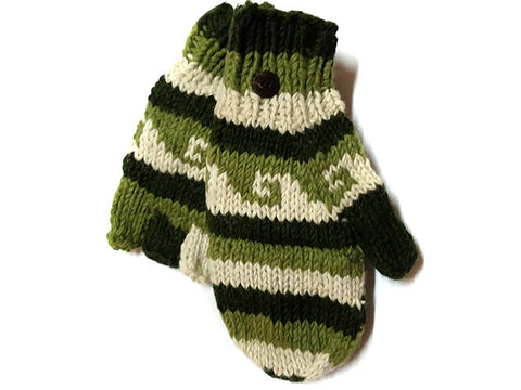 Green Wave Hand-Knitted Tibetan Glove Mitten