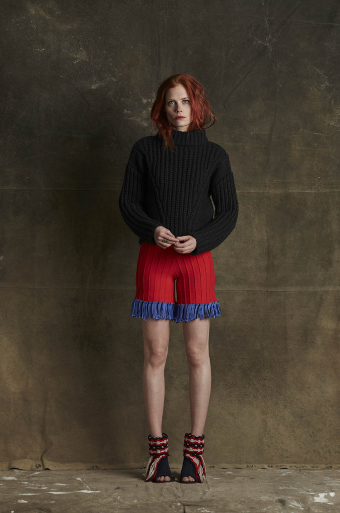 Hoxton Red fringe short on model