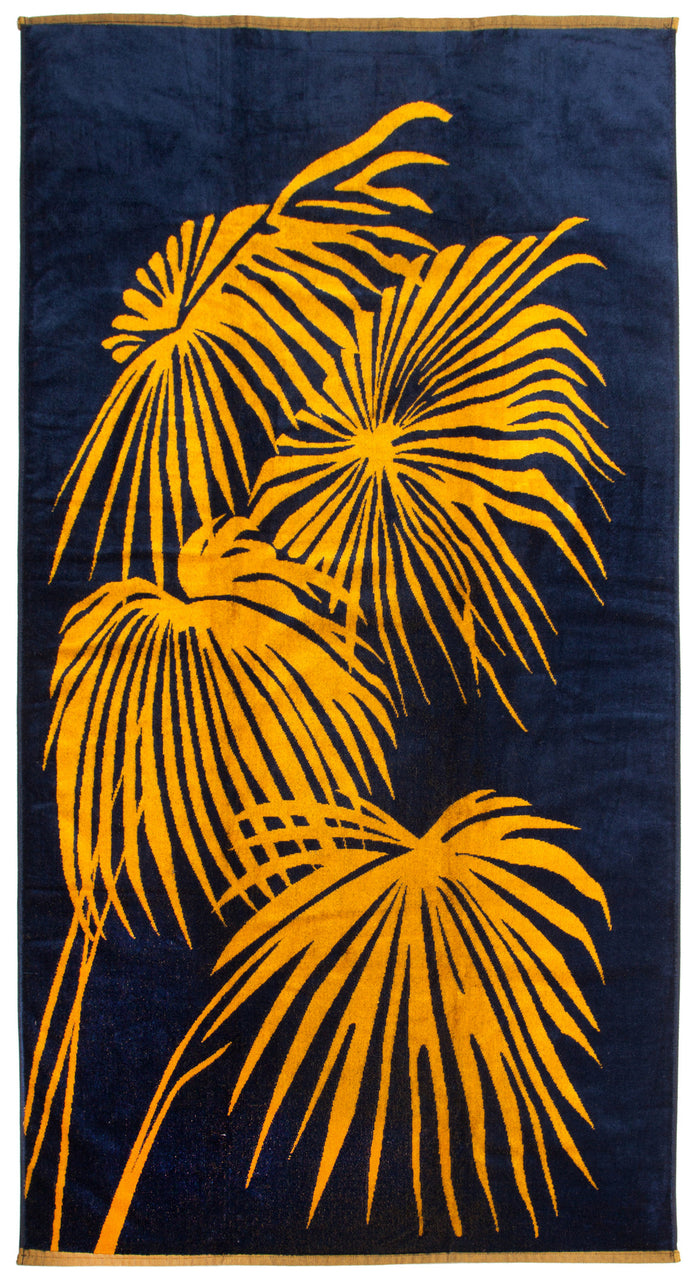 Loulan towel navy and yellow