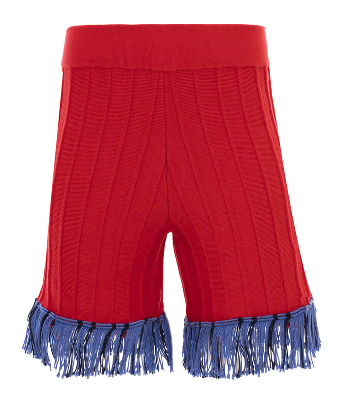 Hoxton red fringe short