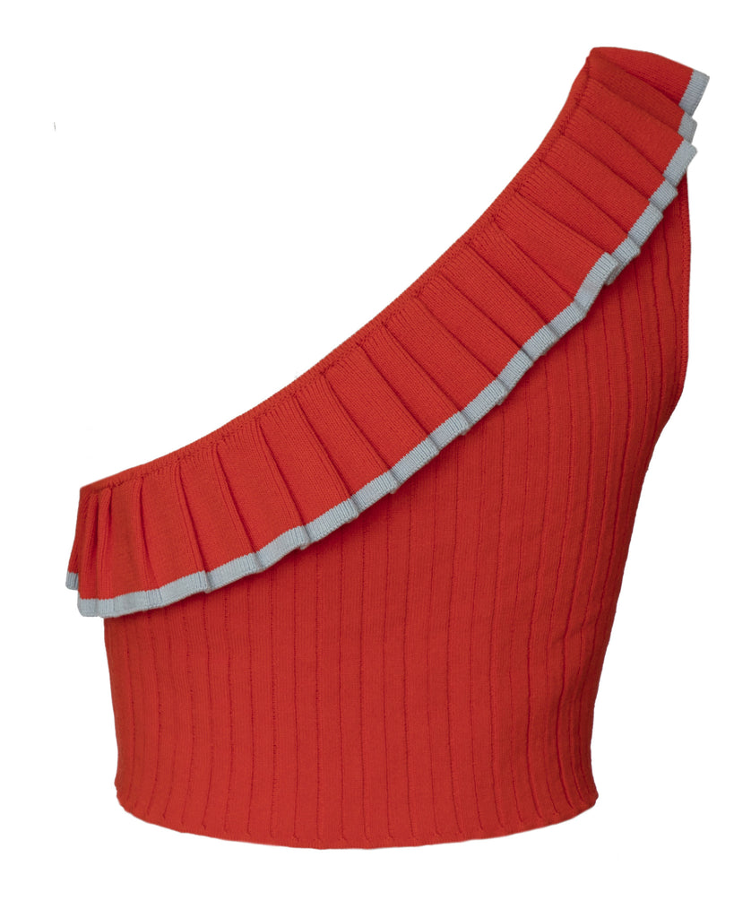Aracari Red Ruffle One Shoulder Top