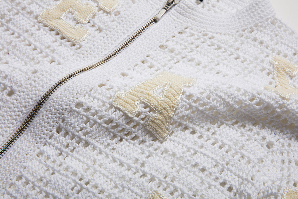 Loon White Varsity Crochet Bomber detail
