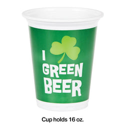 St Patricks Day Party 16Oz Green Beer Plastic Cup 8 Ct.