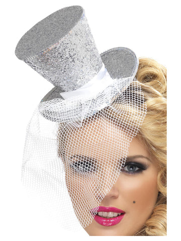 Fever Mini Silver Top Hat on Headband