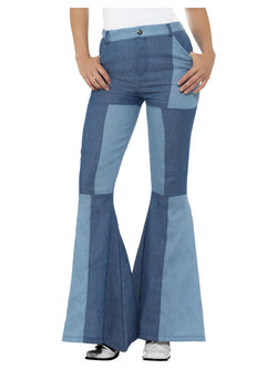 Deluxe Denim Look Flared Ladies Trousers