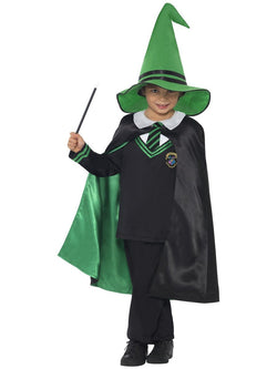 Boy's Wizard Boy Black & Green Costume