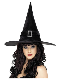 Black Witch Hat with Diamante Buckle