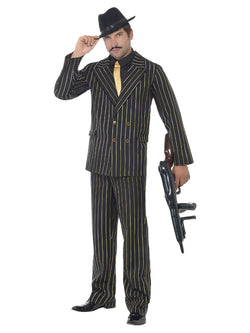 Men's Plus Size Gold Pinstripe Gangster Costume - The Halloween Spot