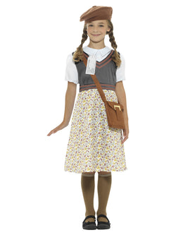 Grey Evacuee School Girl Costume