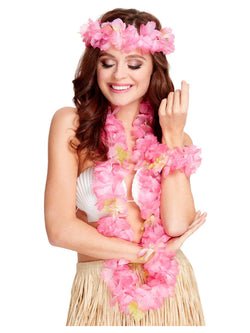 Women's Pink Colour Hawaiian Costume Set