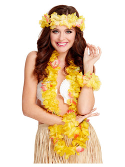 Women's Yellow Colour Hawaiian Costume Set