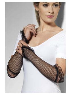 Black Fingerless Fishnet Gloves with Lace