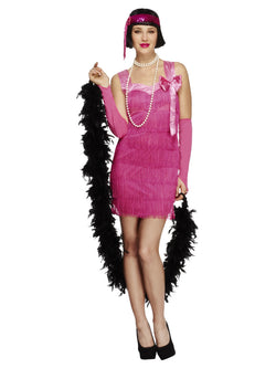 Fever Flapper Hotty Costume, Pink, with Dress, Headband and Gloves