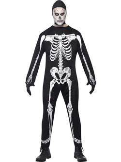 Men's Skeleton Jumpsuit Black Costume