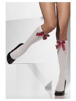 Opaque Knee High Socks with Tartan Bows