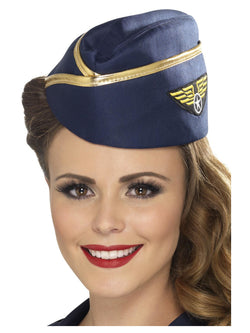 Blue Air Hostess Hat with Gold Rim