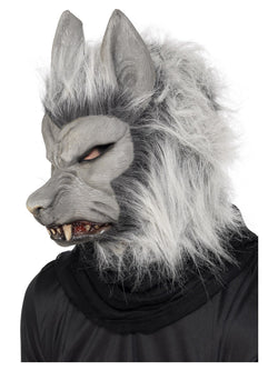 Grey Werewolf Mask with Hair and Ears