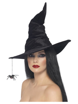 Black Velour Witch Hat with Spider