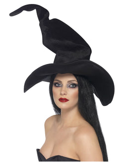Tall and Twisty Black Velour Witch's Hat