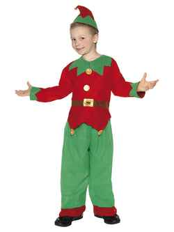Red and green Kids Unisex Elf Costume