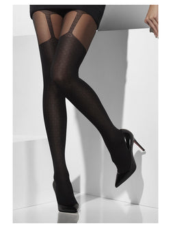 Black Sheer Tights with Suspender Print