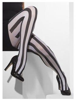 Black Vertical Stripes White Opaque Tights
