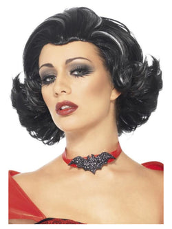 Bijou Boudoir Vampiress Wig, Black, with White Streaks