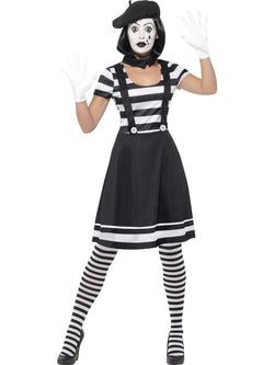 Women's Lady Mime Artist Black Costume
